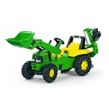 Rolly Toys Junior 811076 John Deere Tractor With Frontloader and Rear Excavator