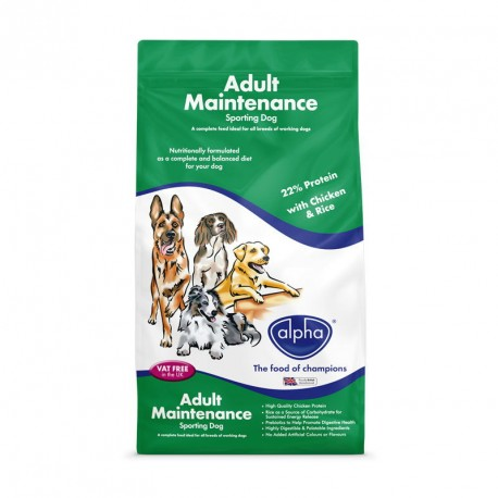 Alpha Adult Maintenance Sporting Dog 15kg – 22% Protein