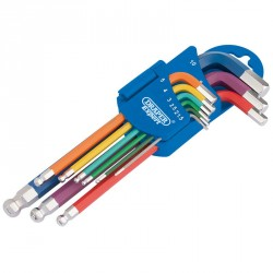Draper Metric Coloured Hexagon And Ball End Key Set (9 Piece) - 66132