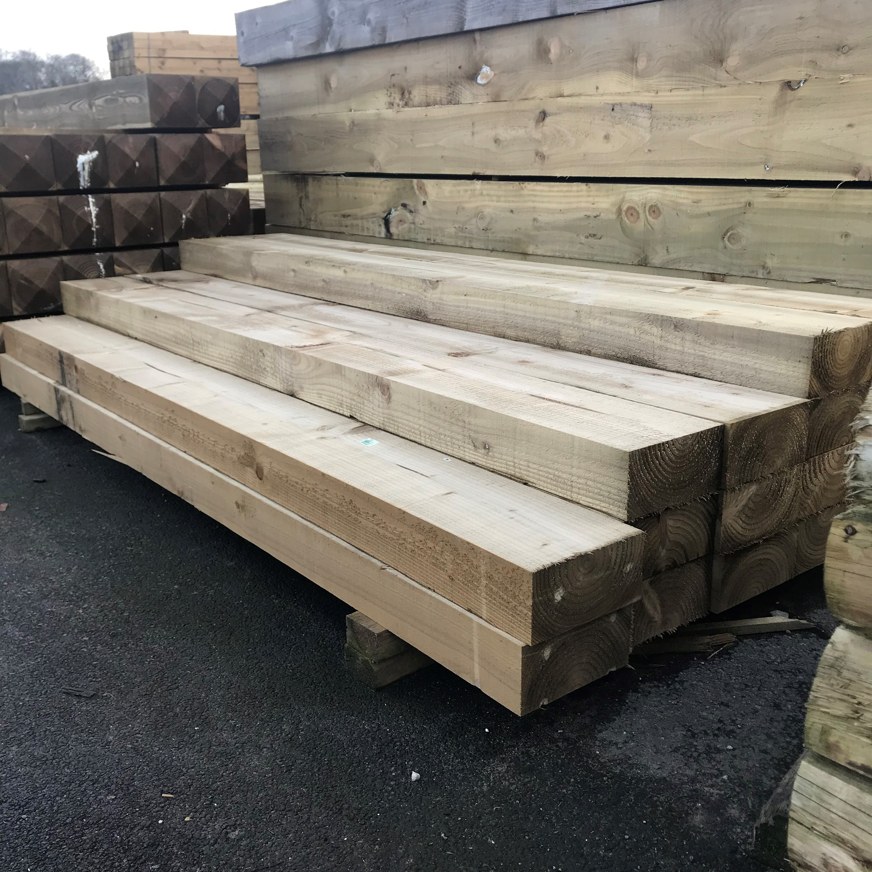 Planed Railway Sleeper 200mm x 200mm x 20.20m   Fencing and Timber