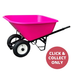 Plastic Wheelbarrow Two Wheels 200L - Pink
