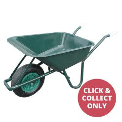 Green Steel Wheelbarrow with Single Wheel 75L