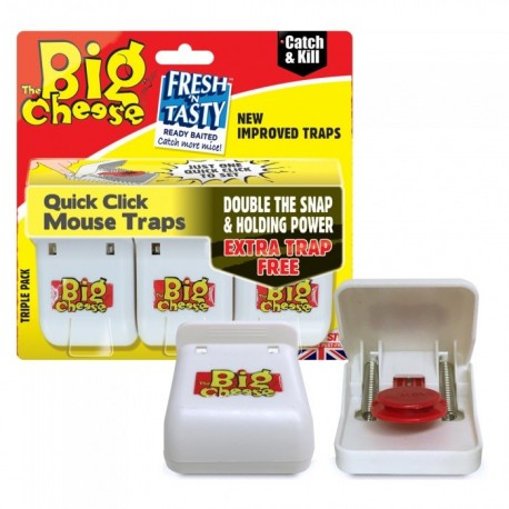The Big Cheese Quick Click Mouse Traps, Pack of 3