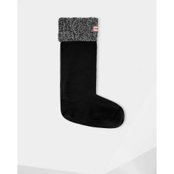 Hunter Original Cable Cuff Tall Boot Socks Black/Grey