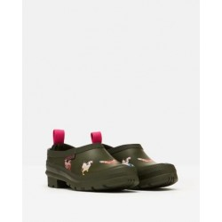 Joules Pop On Khaki Chicken Printed Welly Clogs