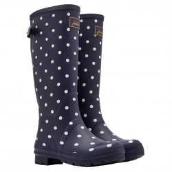 Joules Navy Spot Wellies With Adjustable Back Gusset