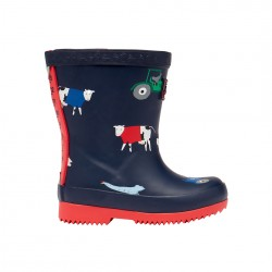 Joules Navy Animal Printed Tall Baby Wellies