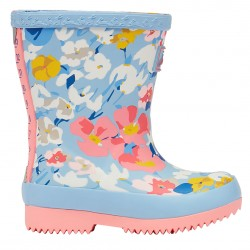 Joules Blue Floral Printed Tall Baby Wellies