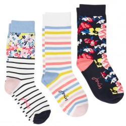 Joules Floral Brill Bamboo Socks, 3 Pack